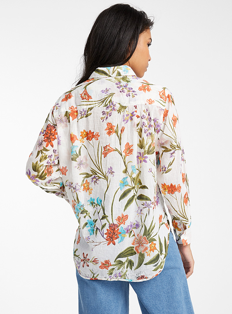 Icône Patterned Ecru Colourful floral cotton shirt for women