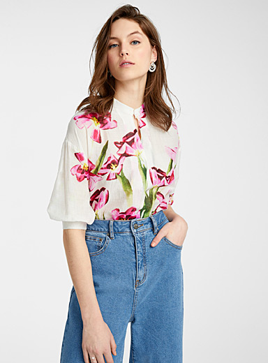 Painterly flower officer-collar shirt