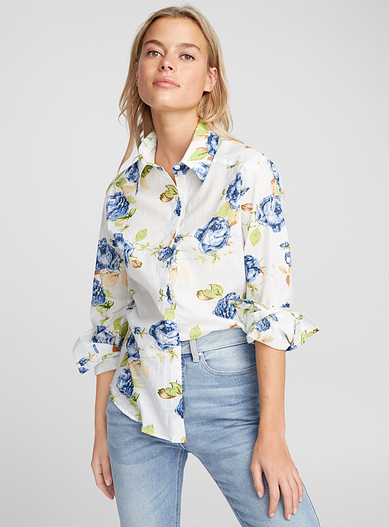Simple flowers cotton voile shirt - Shirts - Patterned White