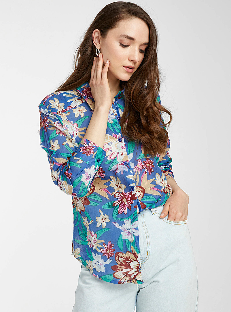 Icône Slate Blue Exotic floral cotton shirt for women