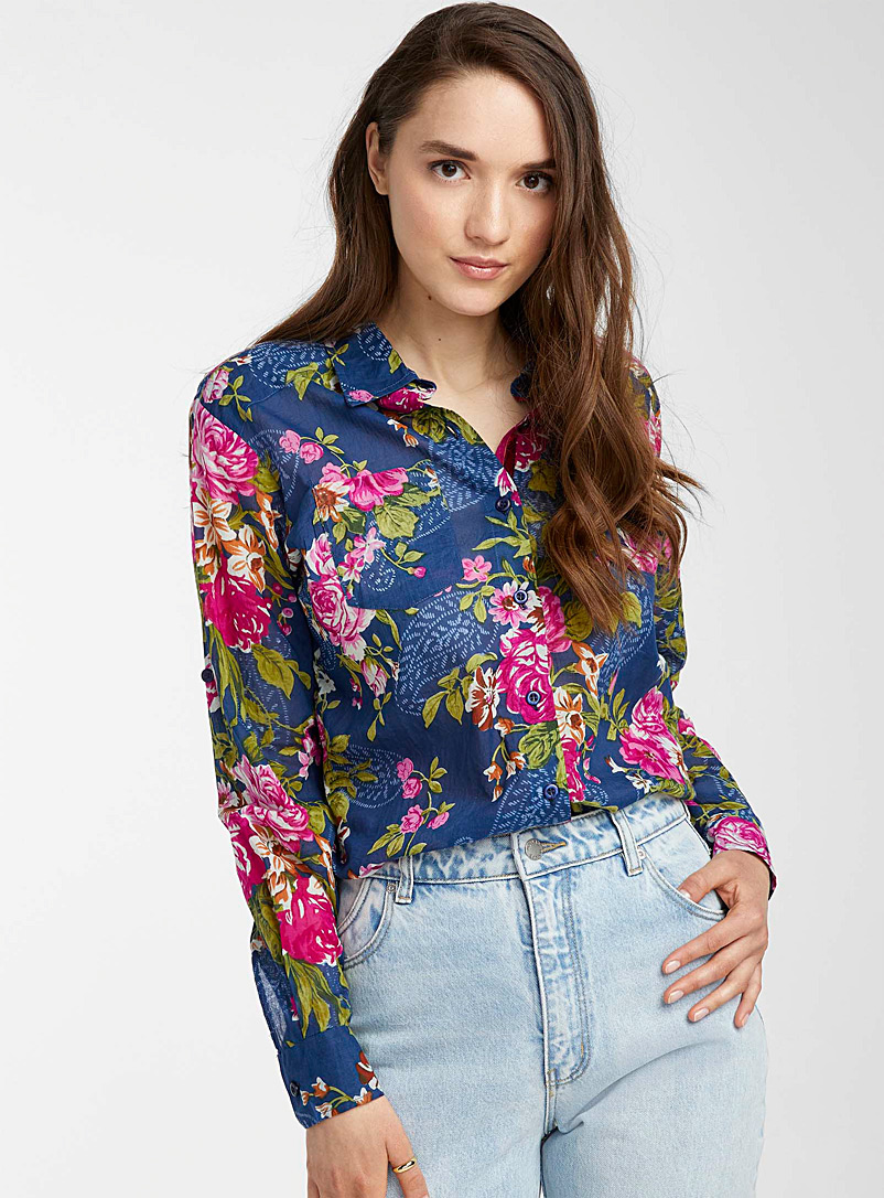 Icône Patterned Blue Burst of roses cotton shirt for women