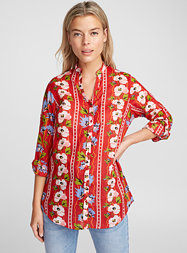 Dot and flower cotton voile shirt