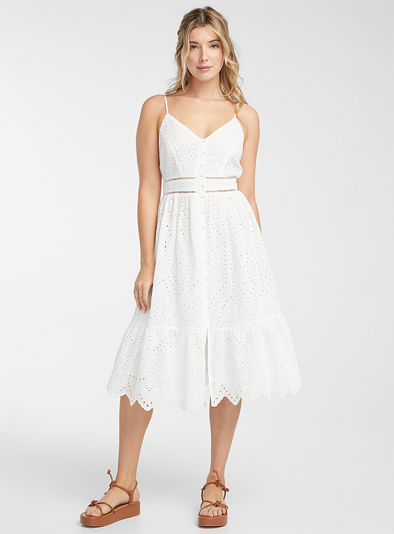 Icône Ivory White Pastoral charm midi dress for women