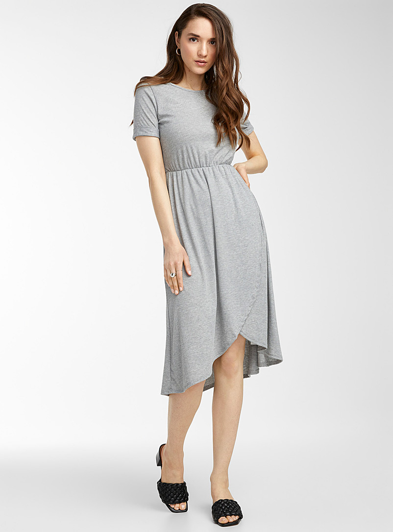Icône Grey Wrap skirt midi dress for women