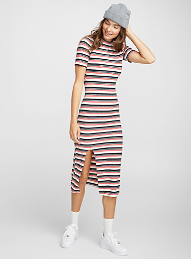 Colourful stripe ribbed dress