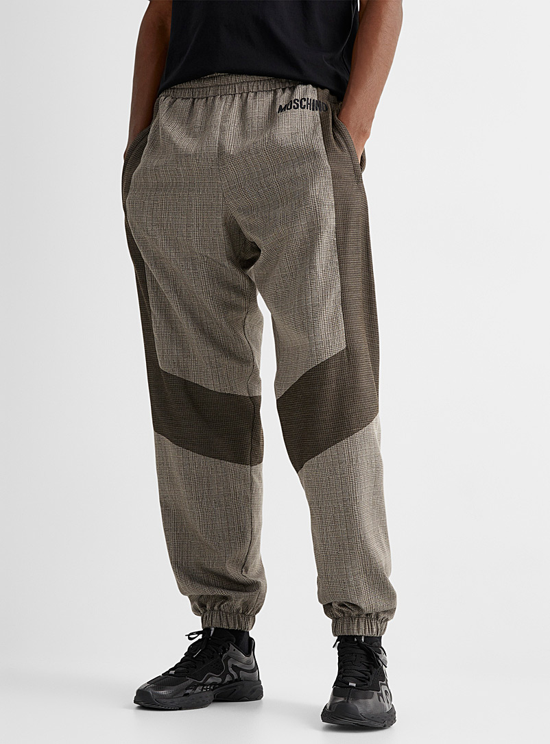 Moschino Brown Patchwork plaid joggers for men