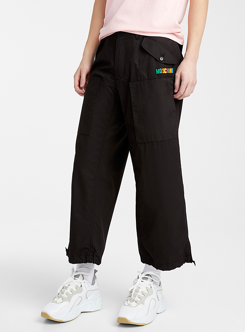 Moschino Black Colourful logo cargo pant for men