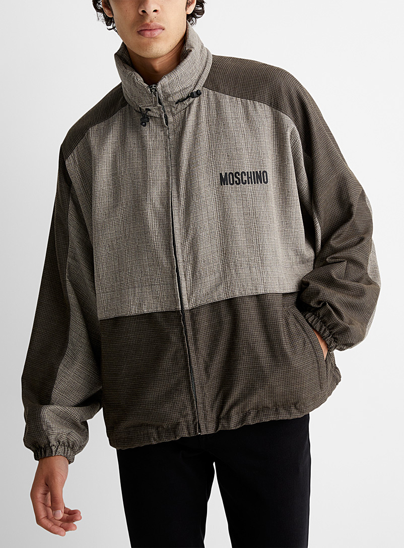 Moschino Brown Canvas and wool patchwork wind breaker for men