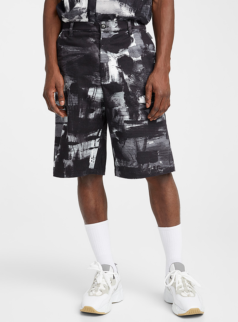 Moschino Grey Brushtroke Bermudas for men