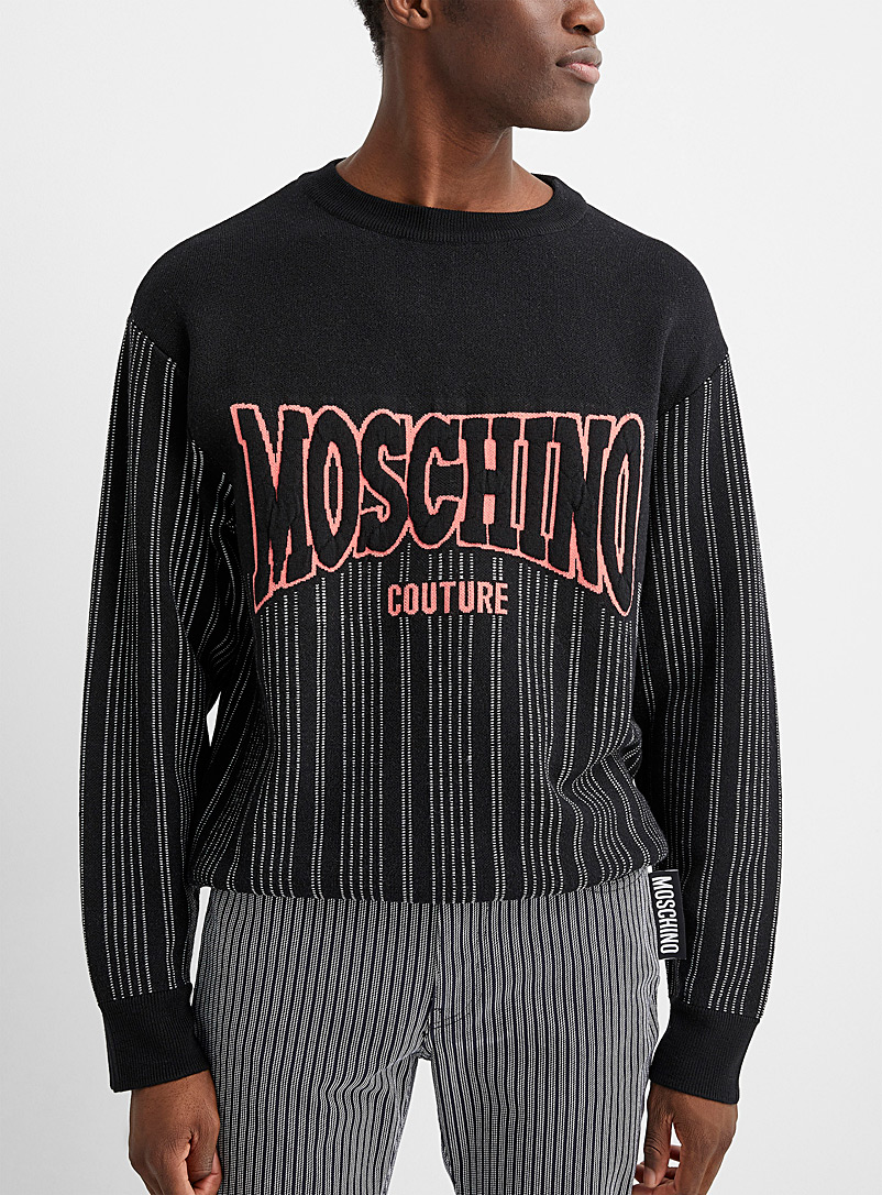 Moschino Black Signature logo baseball sweater for men