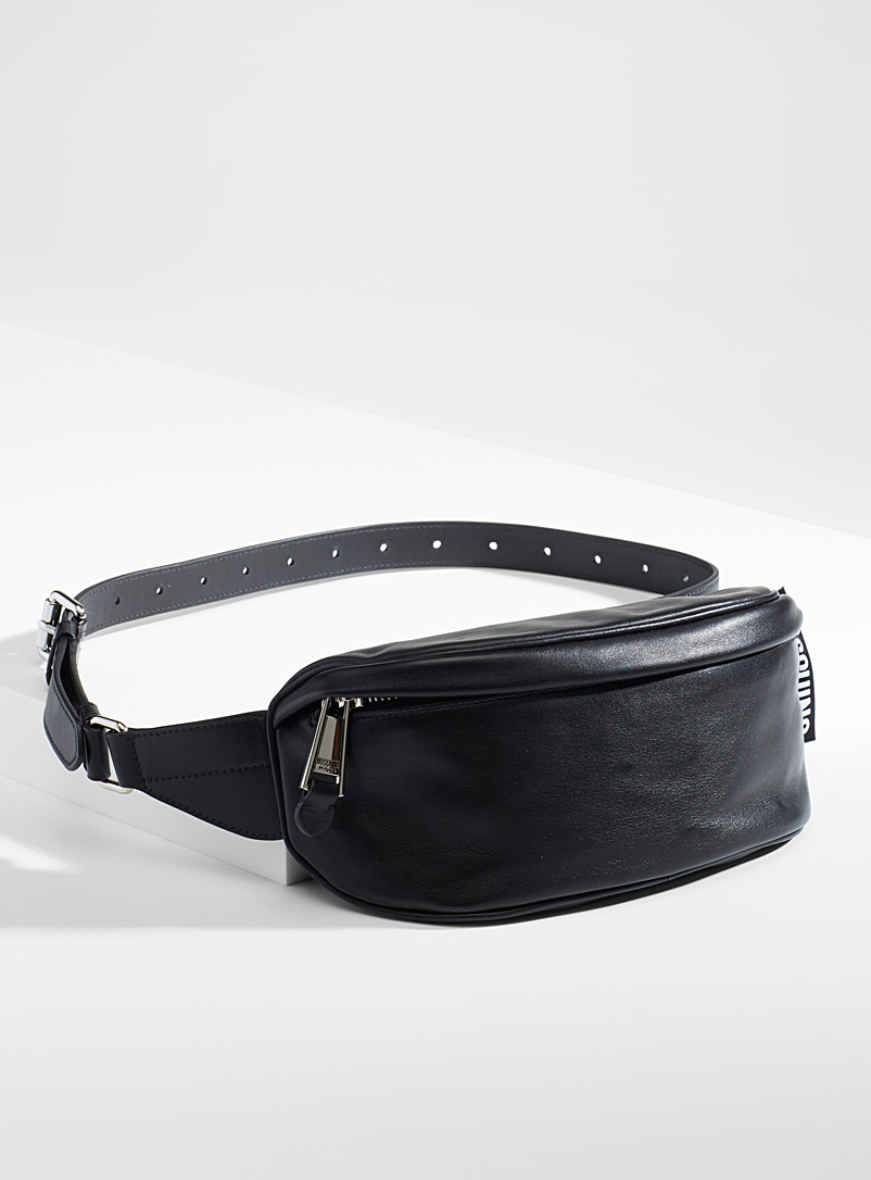 Moschino Black Smooth leather belt bag for men
