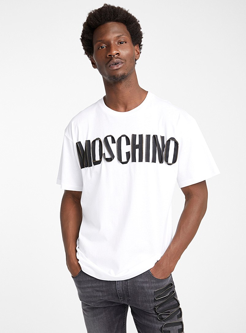 Moschino: Le t-shirt Zip logo Blanc pour homme