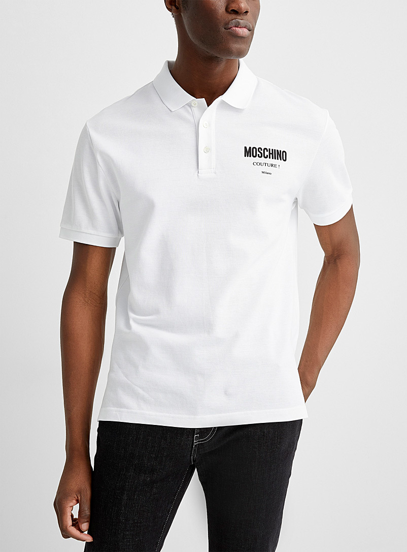 Moschino: Le polo signature couture Blanc pour homme