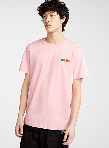 Moschino Pink Colourful logo T-shirt for men