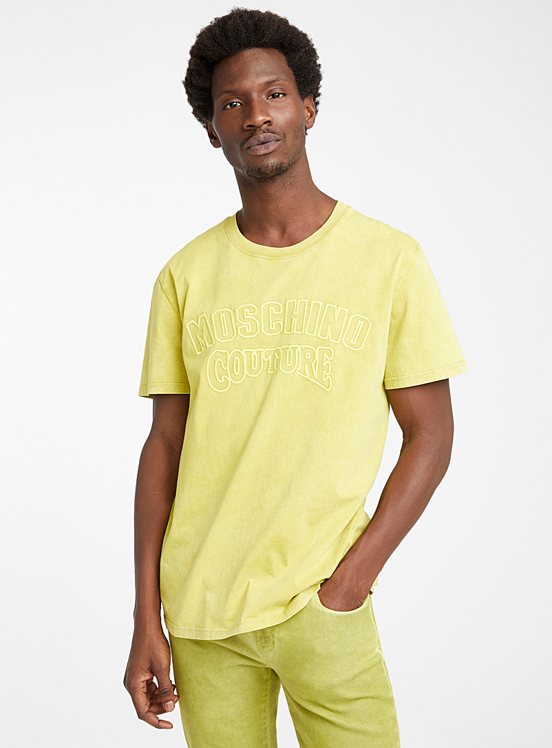 Moschino Medium Yellow Embroidered logo T-shirt for men