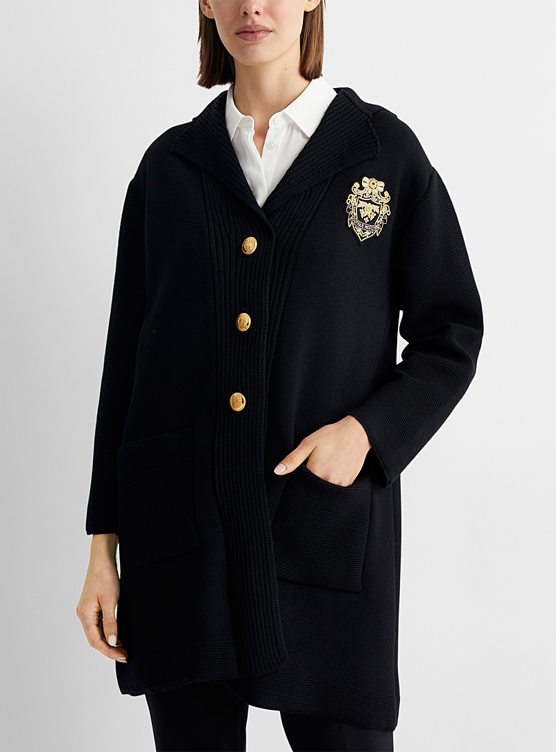BOUTIQUE Moschino Black Golden coat-of-arms wool jacket for women