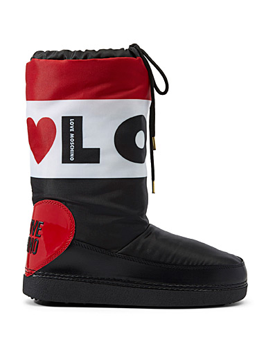 Tricolour quilted boots