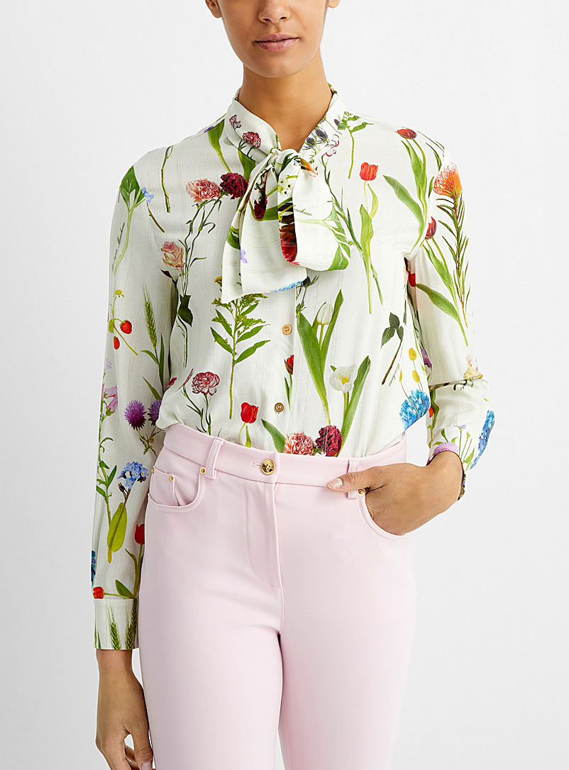 BOUTIQUE Moschino Patterned Ecru Wildflower tie-neck blouse for women