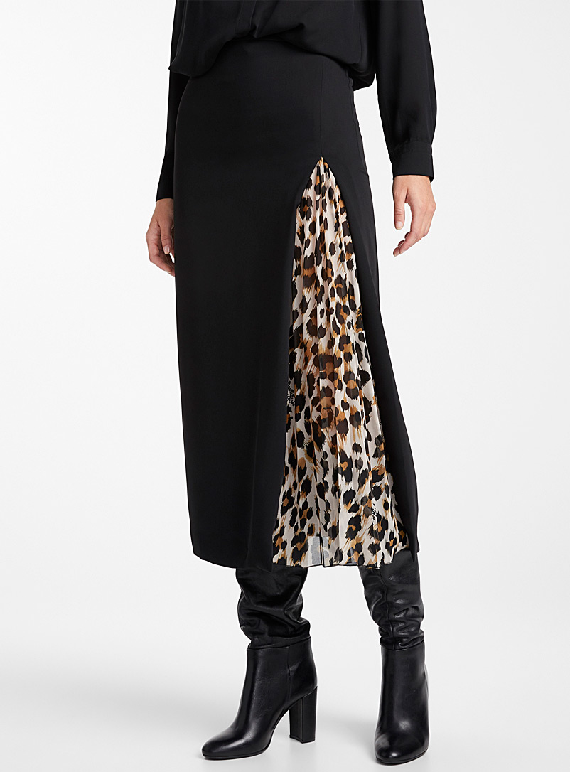 Leopard accent skirt - Boutique Moschino - Patterned Black