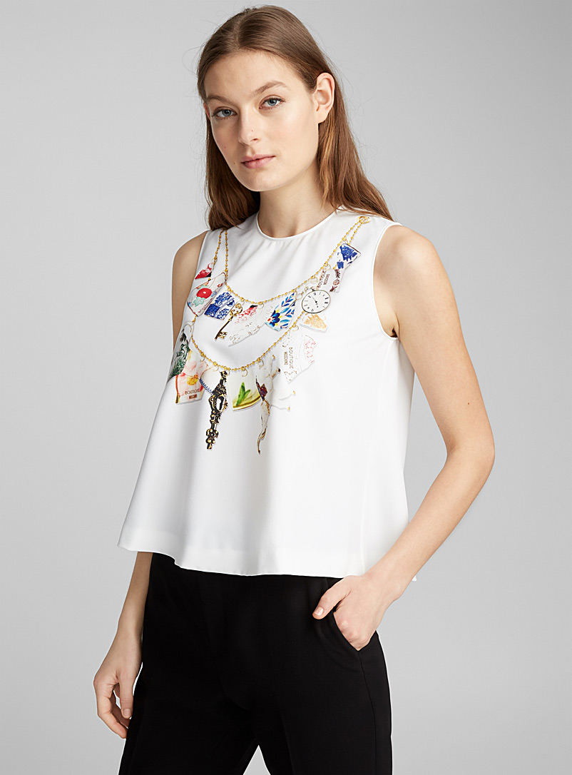 Trompe-l'oeil necklace top - Boutique Moschino - White