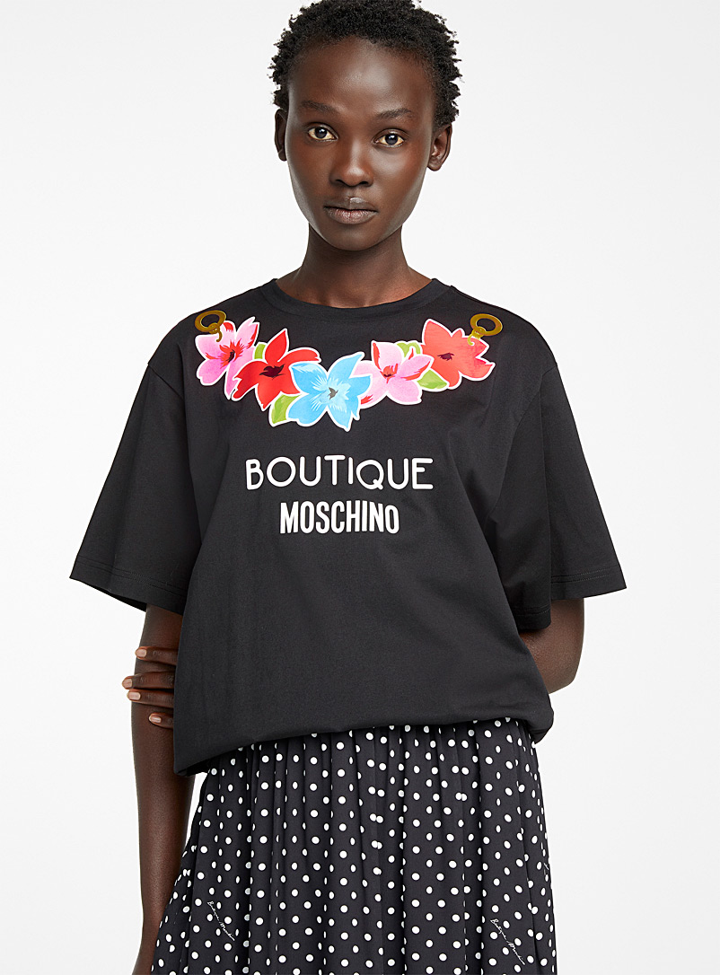 BOUTIQUE Moschino Black Print floral necklace T-shirt for women