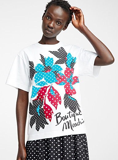 BOUTIQUE Moschino White Tropical flower T-shirt for women