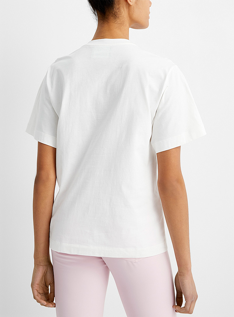 BOUTIQUE Moschino White Embroidered flower tee for women