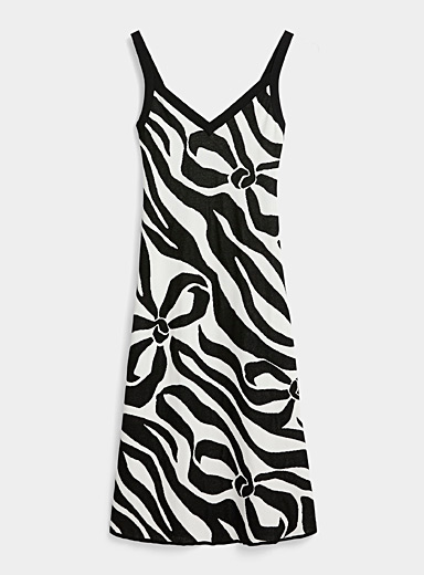 BOUTIQUE Moschino Black and White Lurex jacquard dress for women