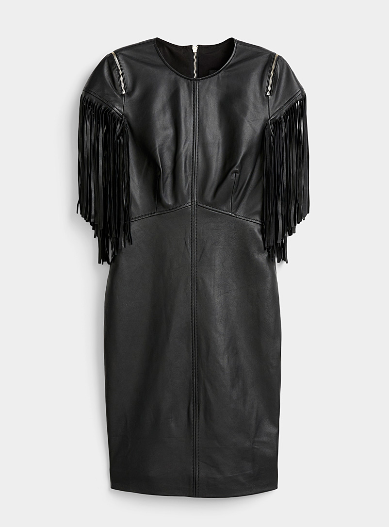 BOUTIQUE Moschino Black Fringed-sleeve leather minidress for women