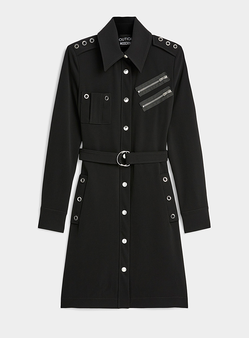 Eyelets and zips shirtdress