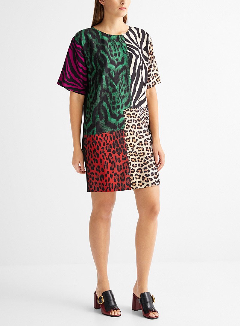 Animal print patchwork T-shirt dress