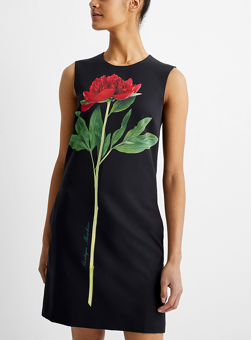 BOUTIQUE Moschino Patterned Black Red peony sleeveless dress for women