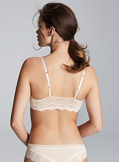 Lace-back laser-cut bra top