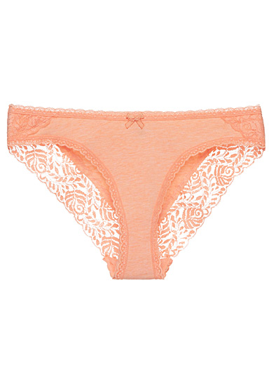 Lace-trim heather bikini panty