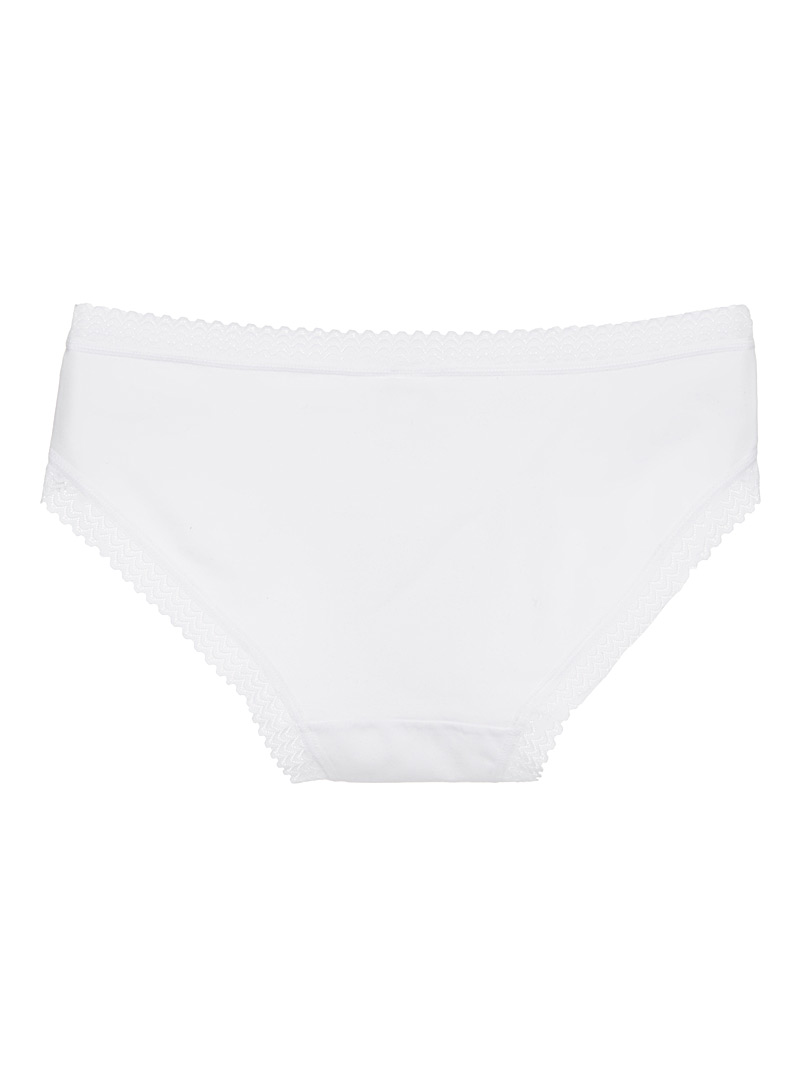 Scalloped lace-trim hipster - Buy More, Save More - White