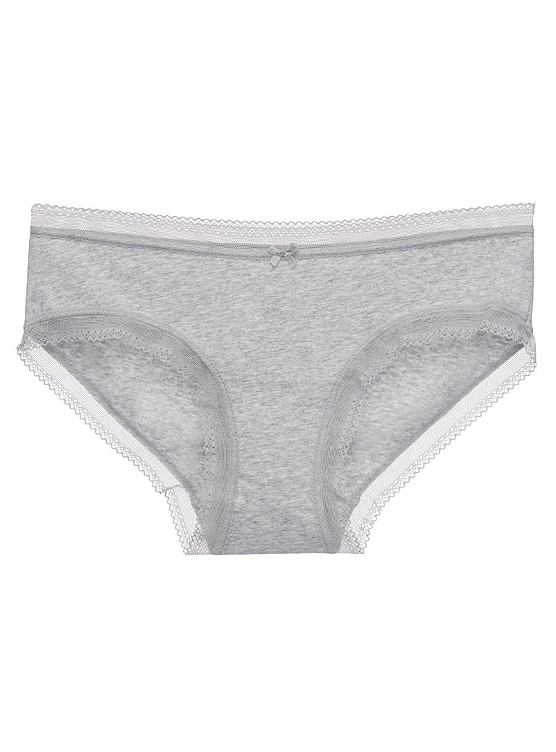 Scalloped lace-trim hipster - Hipsters - Light Grey