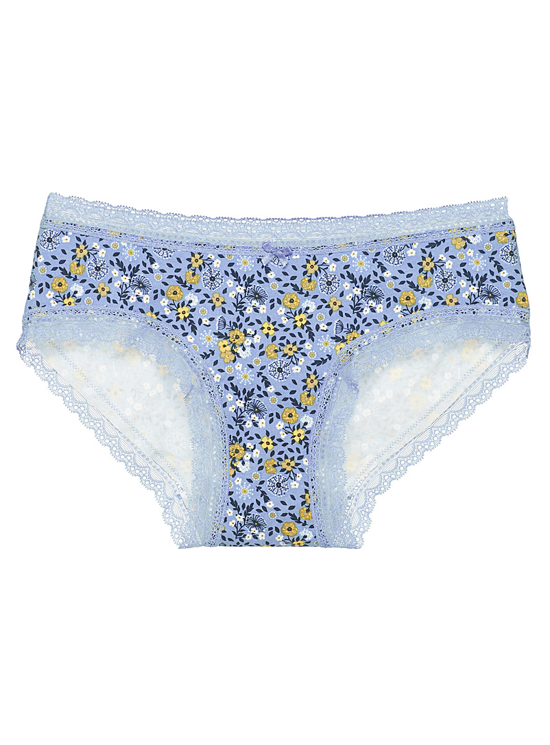 Miiyu Patterned Blue Organic cotton lace trimmed hipster for women