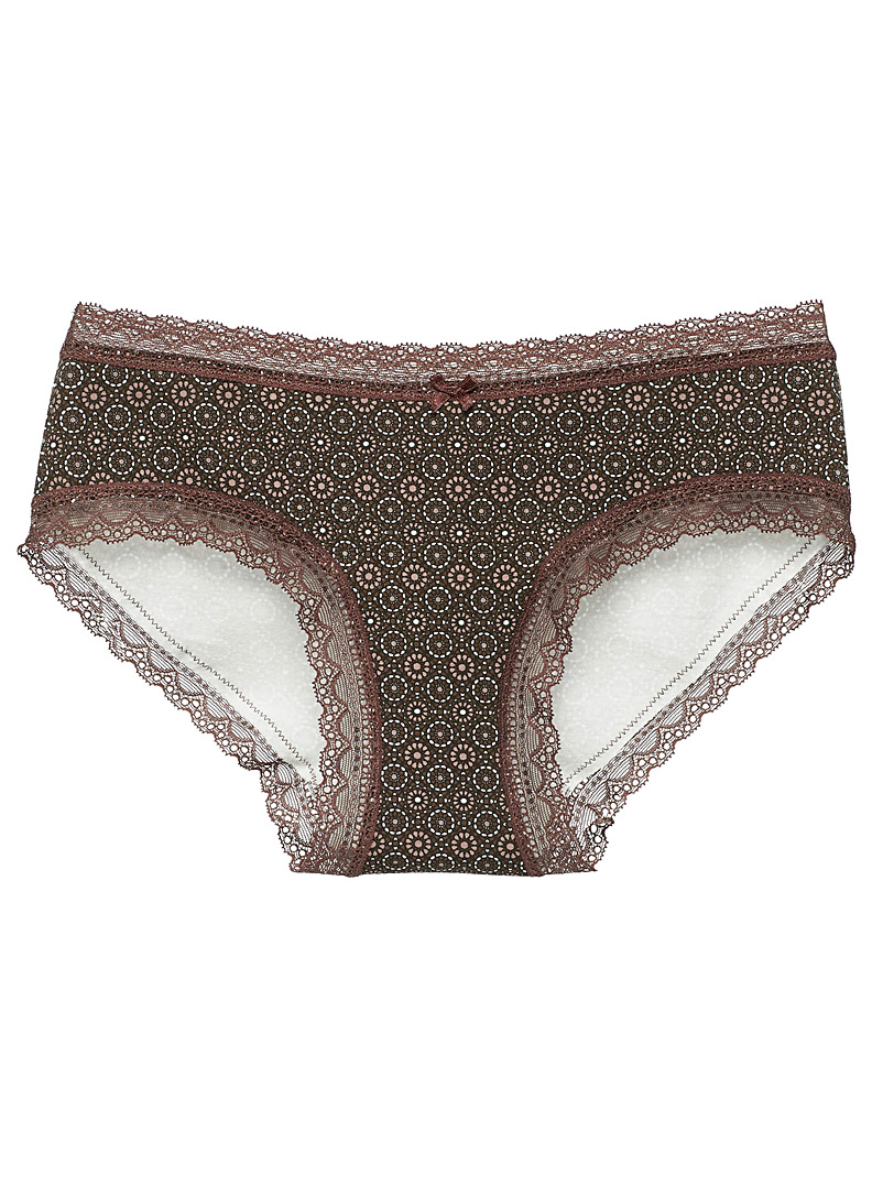 Miiyu Ruby Red Organic cotton lace trimmed hipster for women