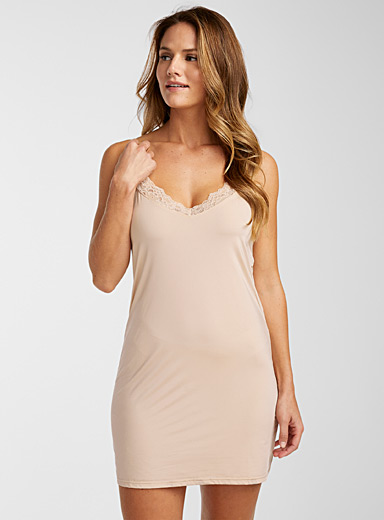 Lace trim satiny slip