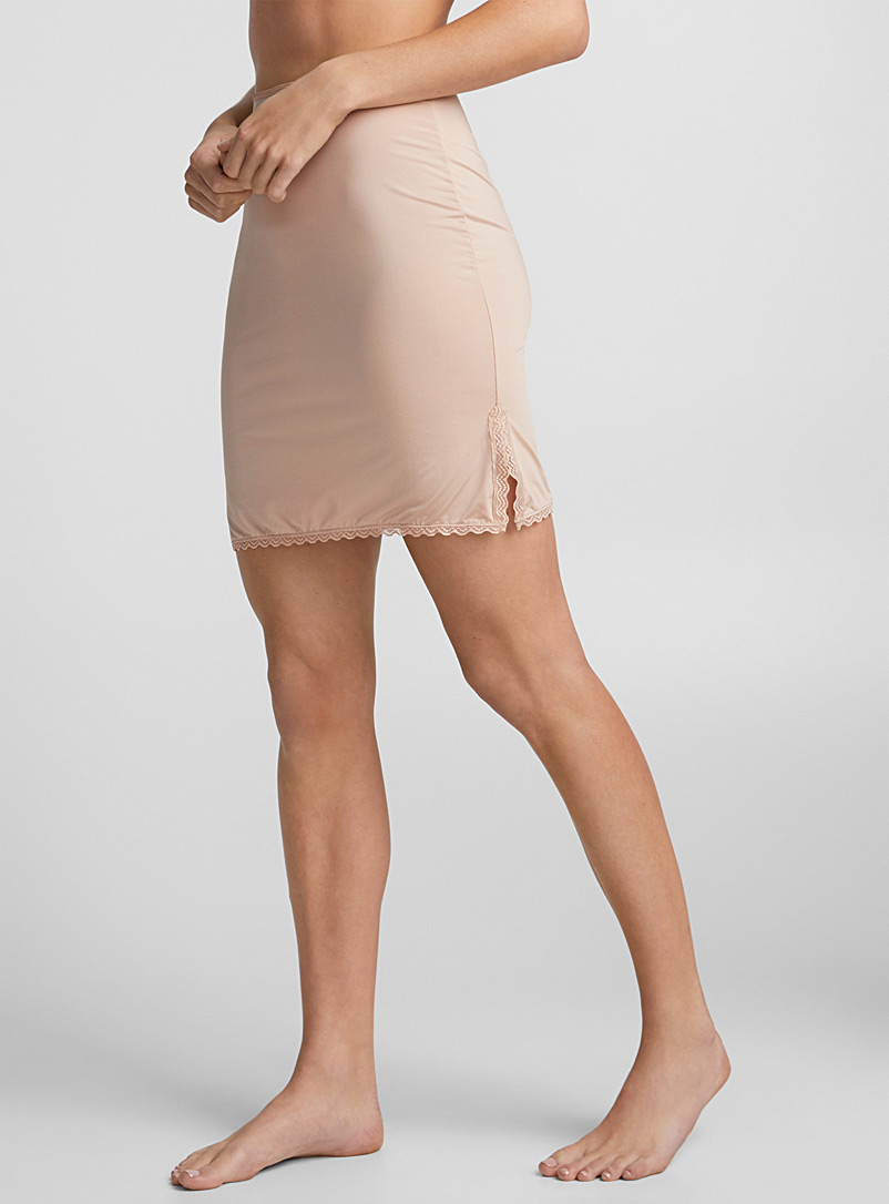 Minimalist lace-trim slip - Slips - Tan