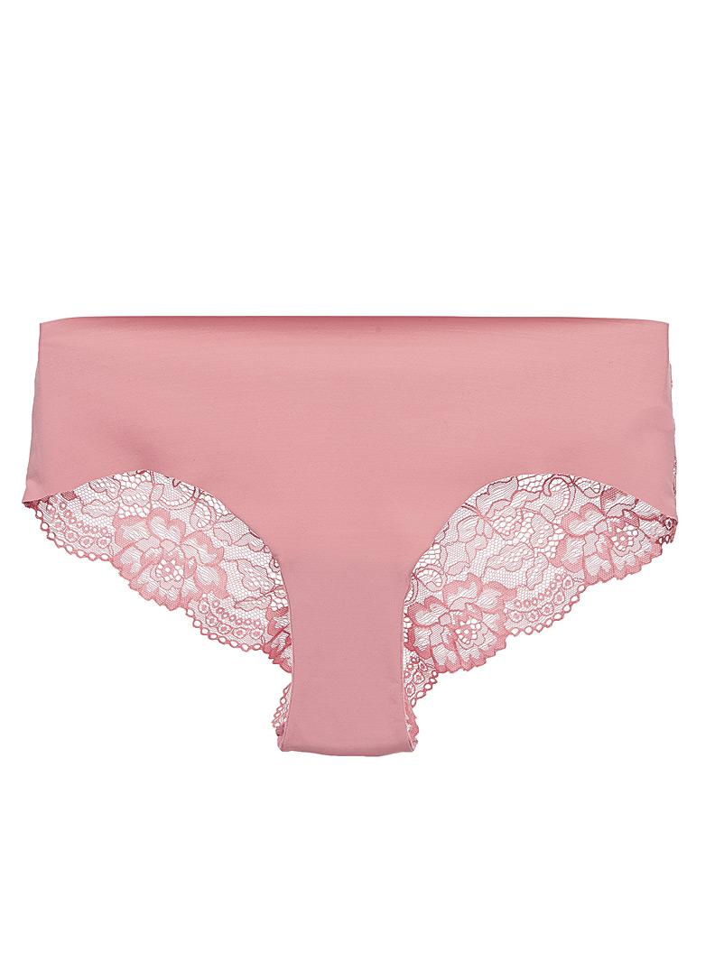 Laser-cut lace Brazilian panty - Buy More, Save More - Pink