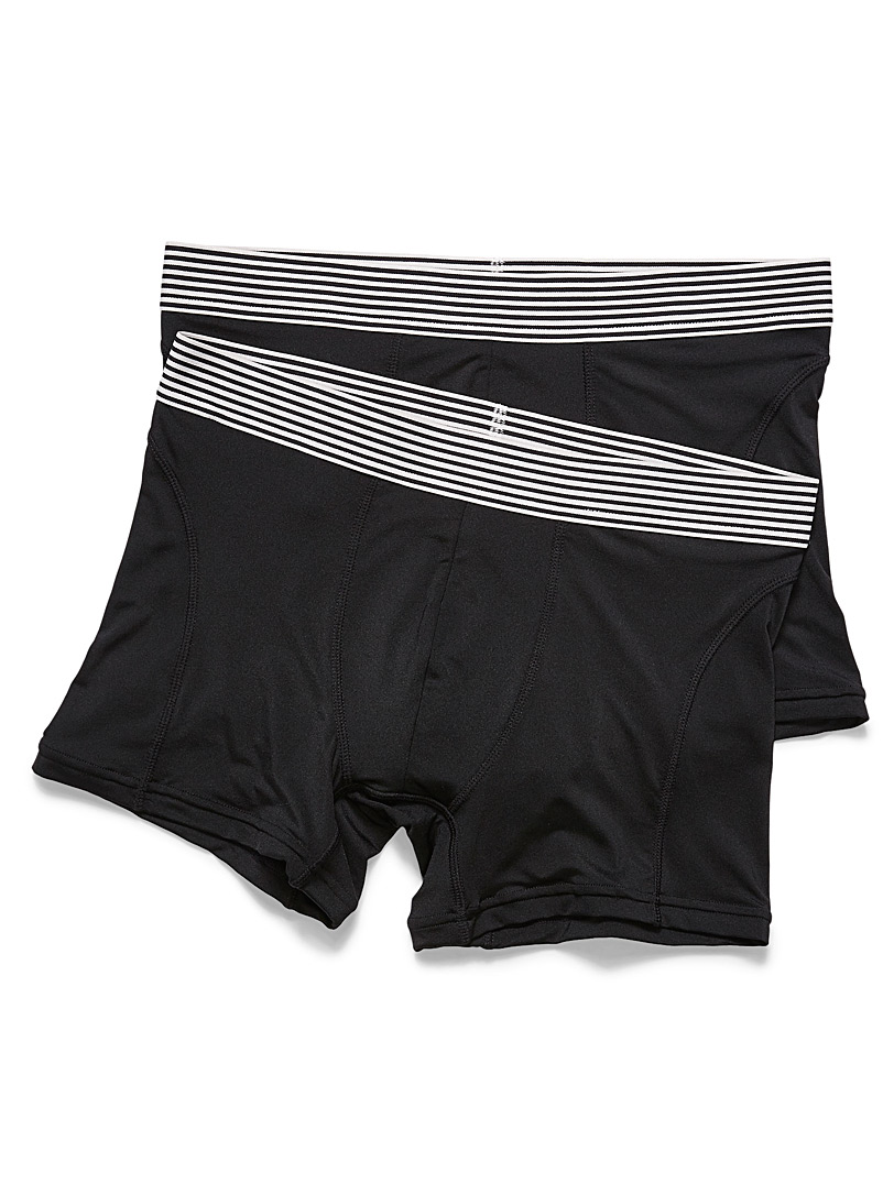 Le 31 Black Striped-waist microfibre boxer brief  2-pack for men