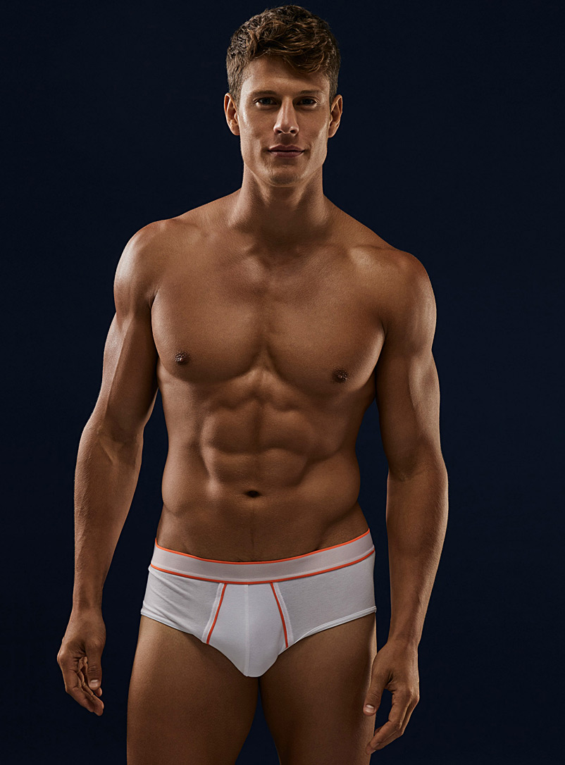 Le 31 White TENCEL* Modal neon-accent brief for men
