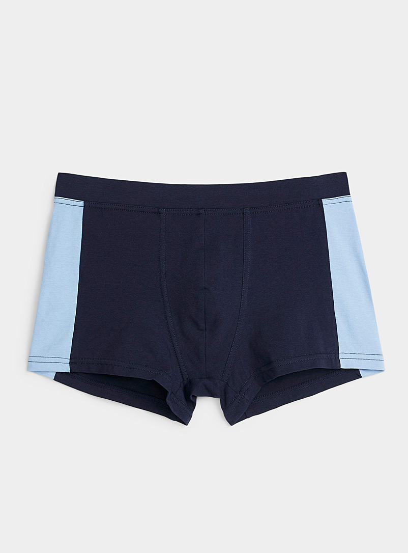 Le 31 Patterned Blue Colour block trunk for men