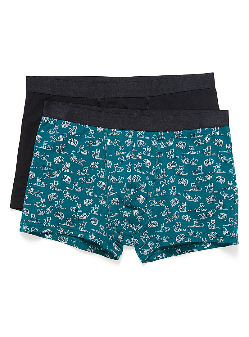 Le 31 Patterned Green Expressive organic cotton trunks 2-pack for men