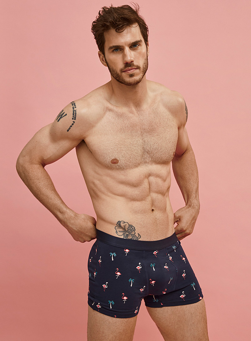 Le 31 Black Solid and printed trunk 2-pack for men