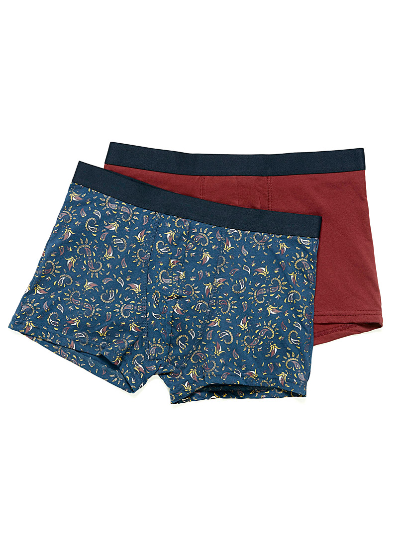 Le 31 Slate Blue Solid and printed trunk 2-pack for men