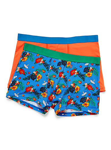 Le 31 Patterned Blue Expressive organic cotton trunk  2-pack for men