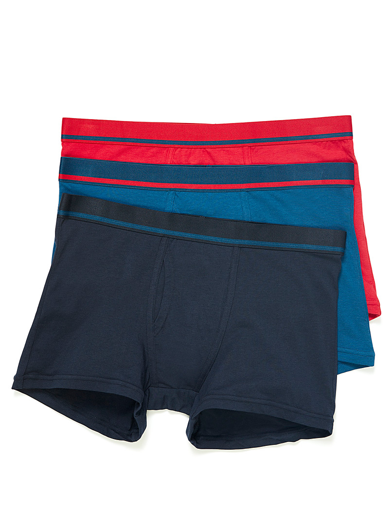 Le 31 Marine Blue Ultra soft organic cotton and modal boxer brief  3-pack for men