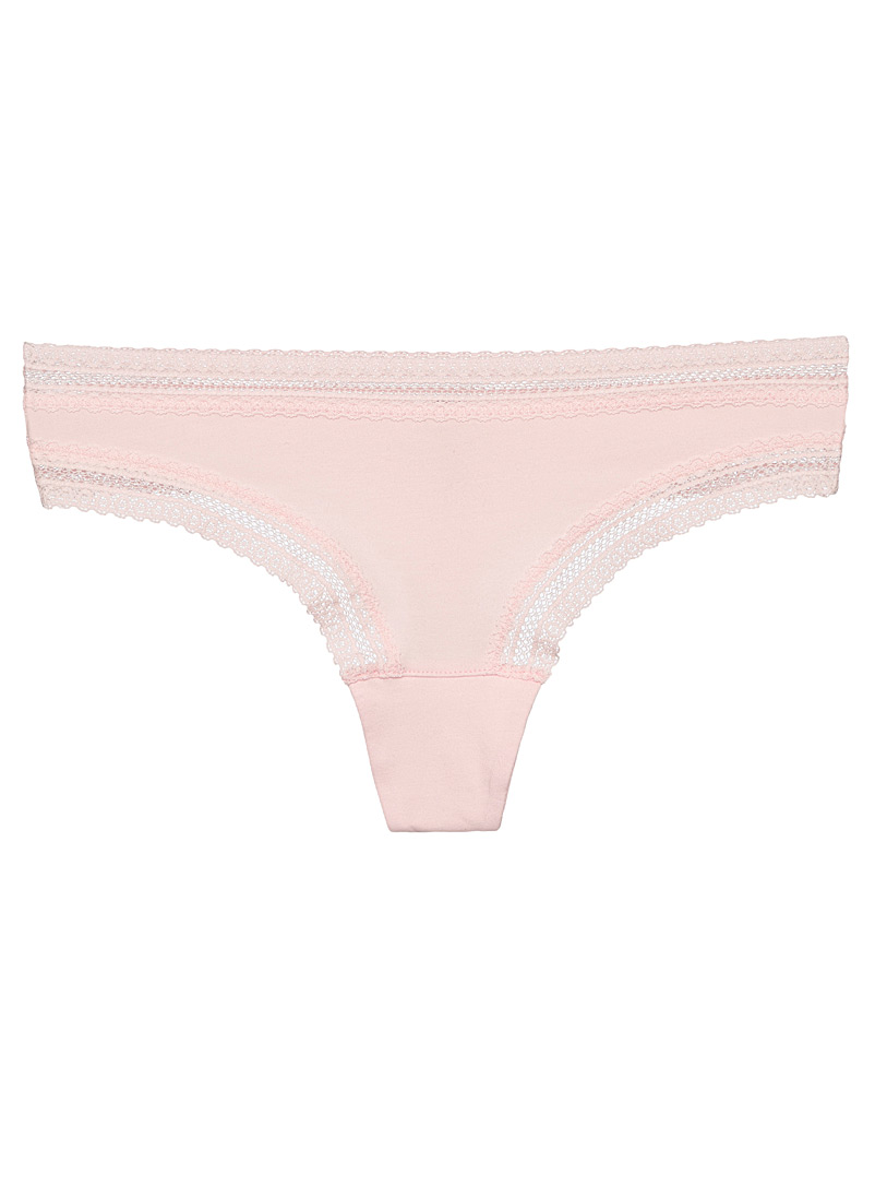 Miiyu Peach Organic cotton lace trim thong for women
